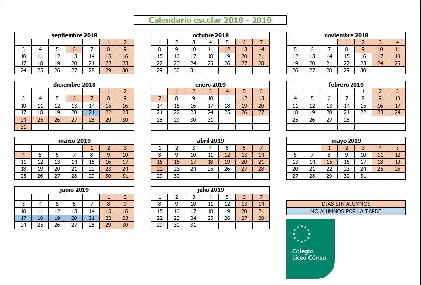 Calendario Escolar 2019 Madrid.Calendario Escolar Colegio Liceo Consul